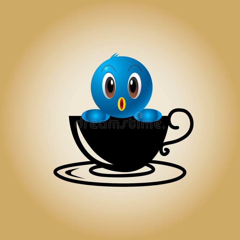 鸟商标咖啡传染媒介 皇族释放例证
