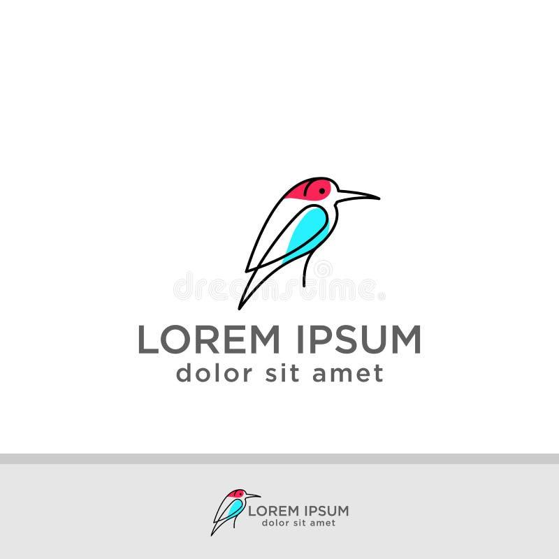 鸟商标设计传染媒介模板 创造性的鸠略写法企业技术概念标志象 向量例证