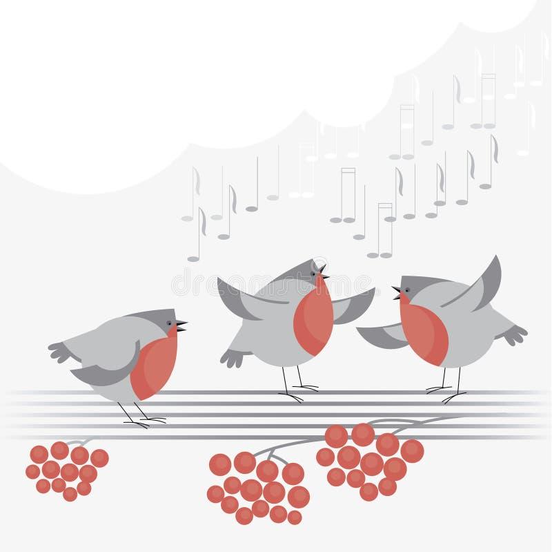 鸟圣诞节歌曲 向量例证