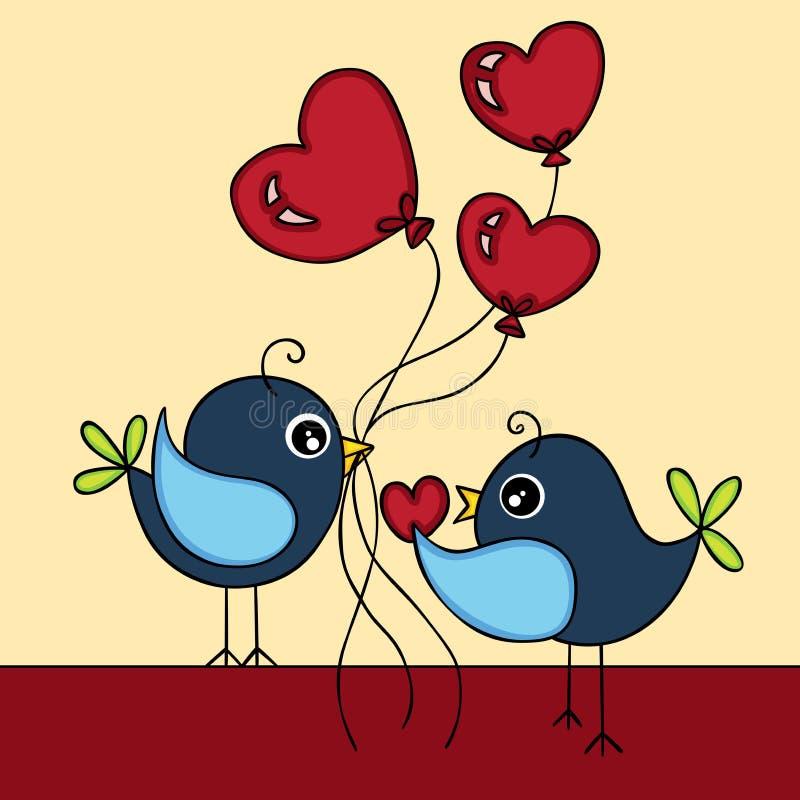 鸟在爱背景中 库存例证
