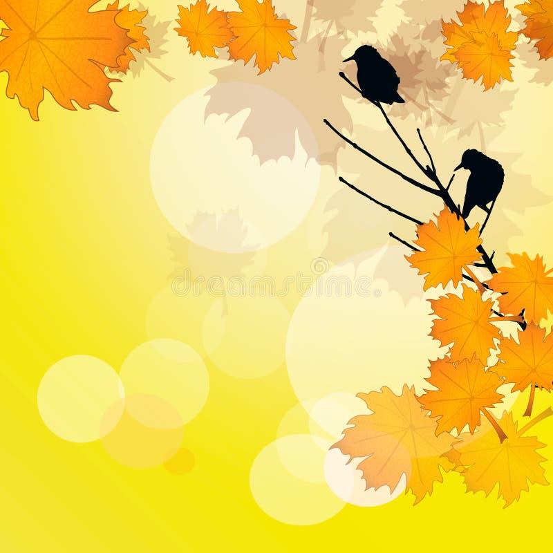 鸟在秋天背景中 向量例证