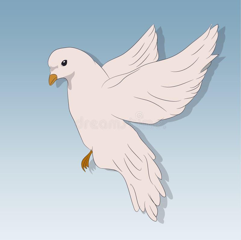 鸟在飞行中反对天空,传染媒介 向量例证