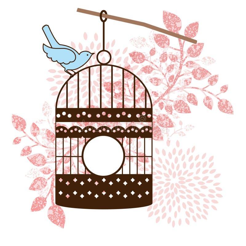 鸟坐笼子 向量例证