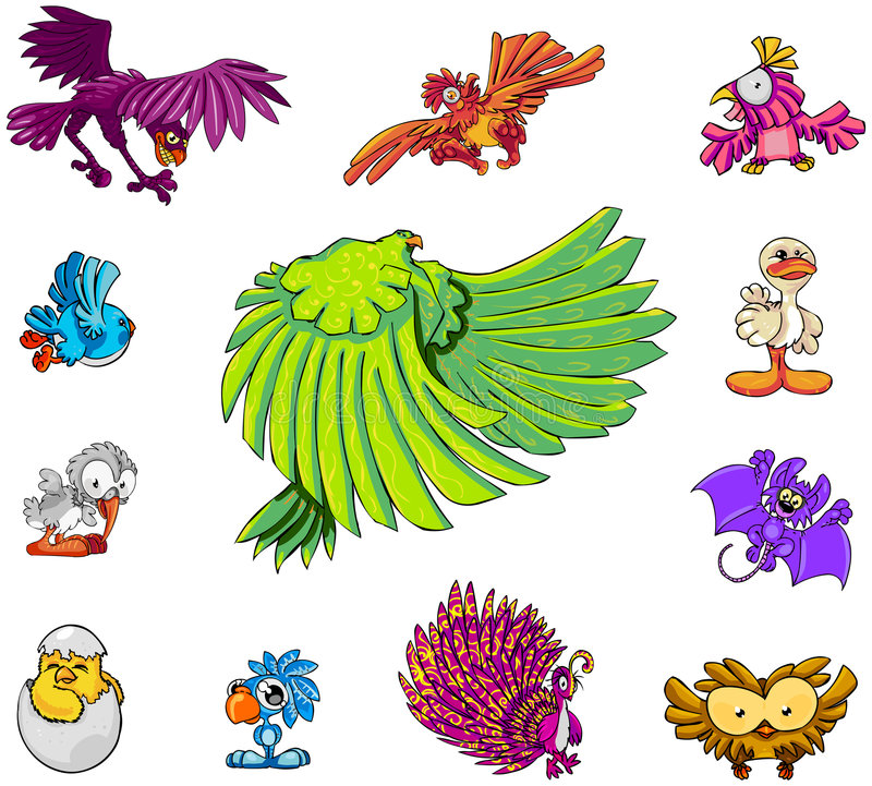鸟字符收集 向量例证