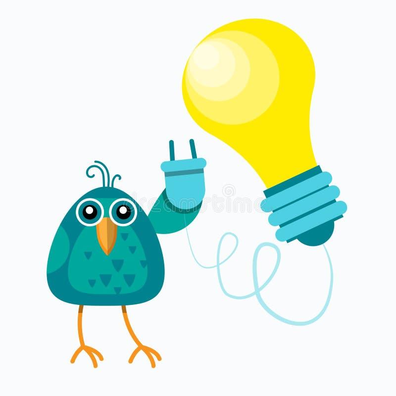鸟平展坐分支举行插口电灯泡新的想法概念 皇族释放例证
