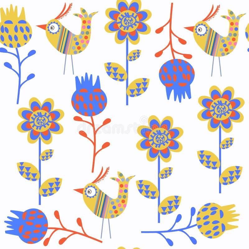 鸟抽象传染媒介无缝的自然幻想样式 它是地点 库存例证
