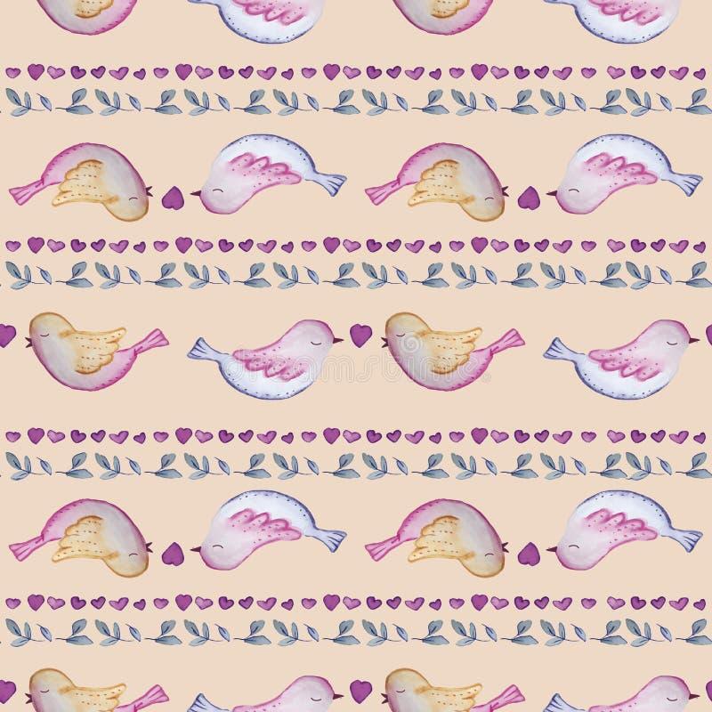 鸟无缝的重复印刷品样式瓦片 免版税库存图片