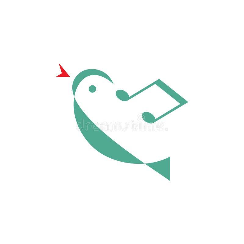 鸟曲调-传染媒介商标概念例证 最小的样式 音乐商标概念 传染媒介商标模板 向量例证
