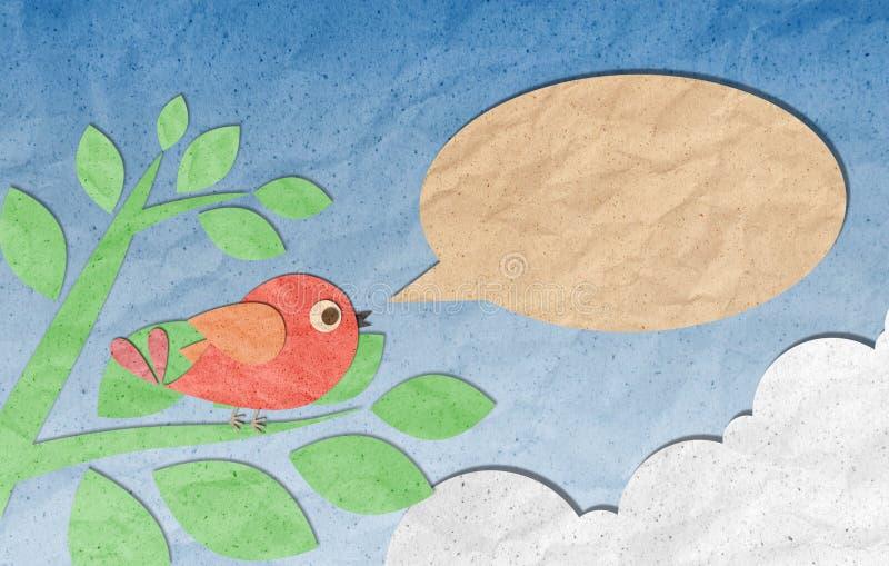 鸟泡影工艺纸张演讲 向量例证