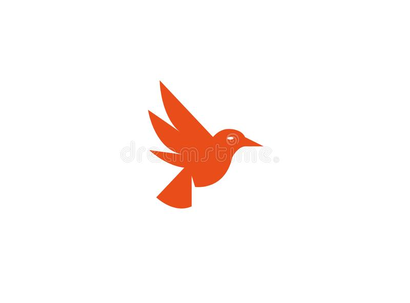 鸟潜水开放翼并且为商标飞行 向量例证