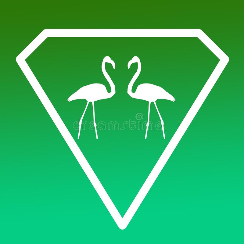 鸟火鸟对商标在绿色梯度背景的横幅图象 库存例证