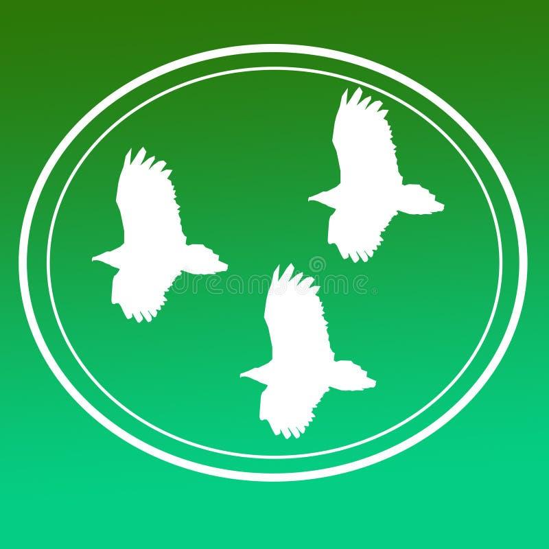 鸟猛禽老鹰雕飞行图象背景商标横幅 向量例证