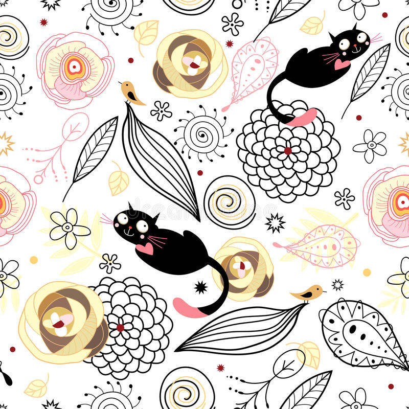 鸟猫自然纹理 库存例证