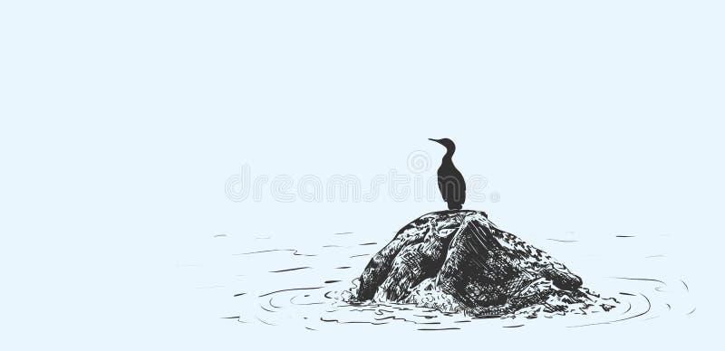鸟的传染媒介例证坐一块石头在海,剪影用手做了 皇族释放例证