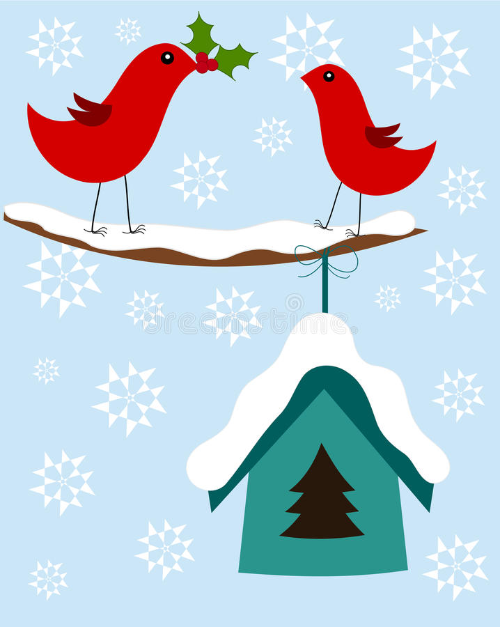 鸟看板卡圣诞节 向量例证