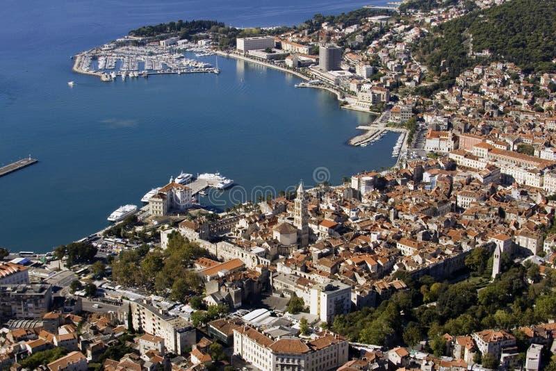 鸟瞰图,分裂市中心,有Diocletian宫殿的,克罗地亚老镇 库存图片