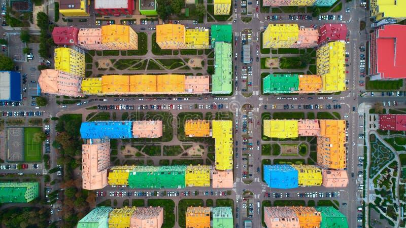 鸟瞰图五颜六色的房子在Kyiv,乌克兰 免版税库存图片