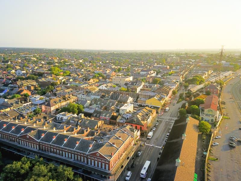 鸟瞰图历史的法国街区在新奥尔良,路易斯安那, U 库存照片