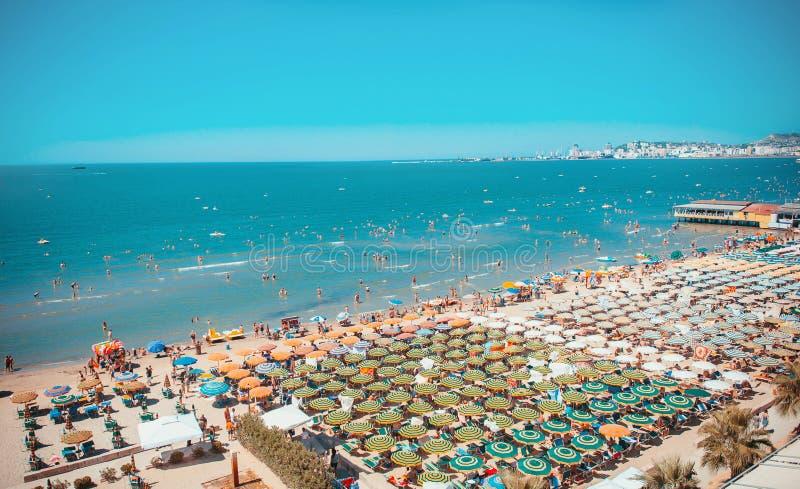 鸟瞰图向亚得里亚海在都拉斯 免版税图库摄影
