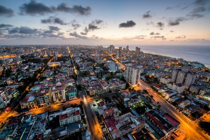 鸟瞰图哈瓦那(Habana)有海岸海洋的 库存图片