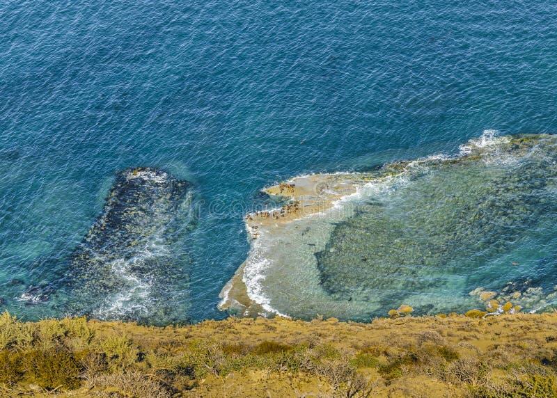 鸟瞰图大西洋Chubut阿根廷 库存照片