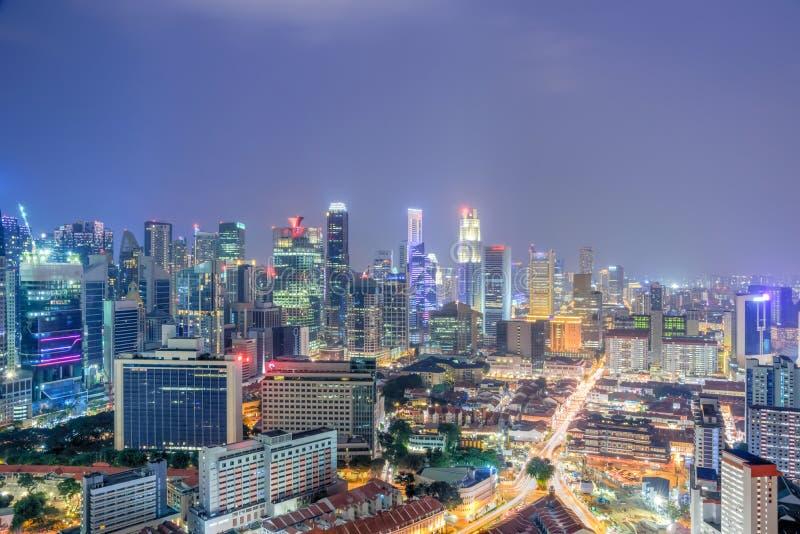 鸟瞰图新加坡市中心办公室和住宅buildin 库存图片