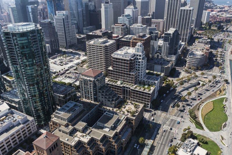 鸟瞰图旧金山Embarcadero 免版税库存图片
