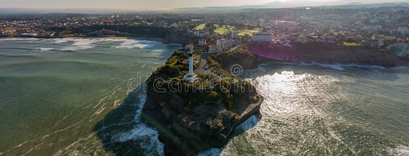 鸟瞰图灯塔在比亚利兹,法国 免版税图库摄影