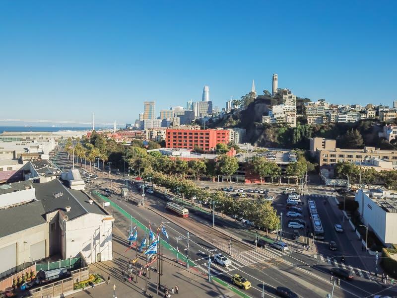 鸟瞰图通信机小山邻里在旧金山,加州,美国 库存照片