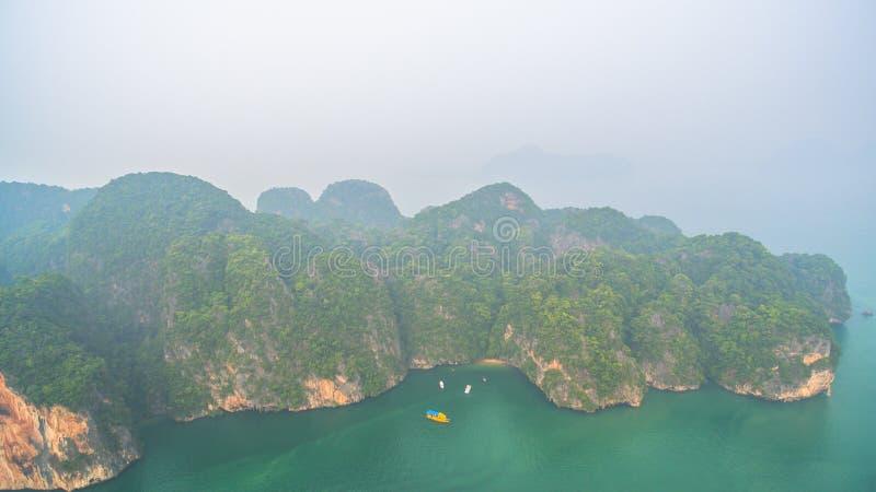 鸟瞰图酸值姚亚伊在Phang Nga,泰国 库存图片