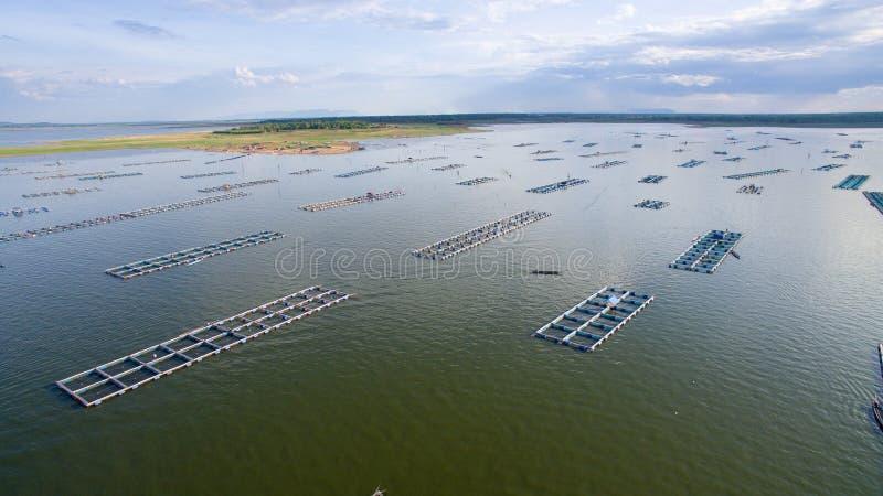 鸟瞰图,鱼小屋,鱼笼子, Khonkean,泰国 免版税库存照片