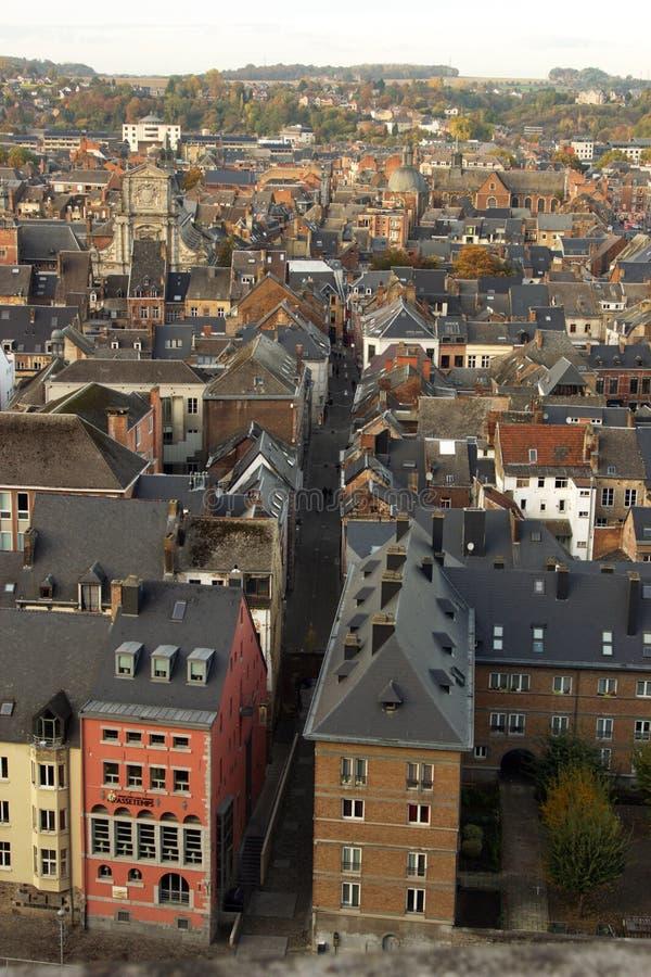 鸟瞰图,从城堡,市那慕尔,比利时,欧洲 免版税库存照片