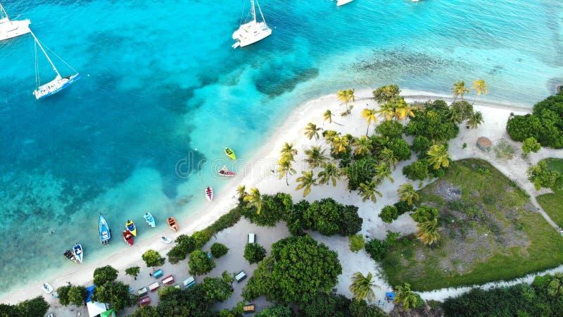 鸟瞰图,Grendines的海岛,多巴哥 库存照片