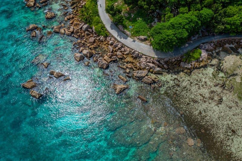 鸟瞰图:严重的昂斯市,拉迪格岛 免版税库存照片
