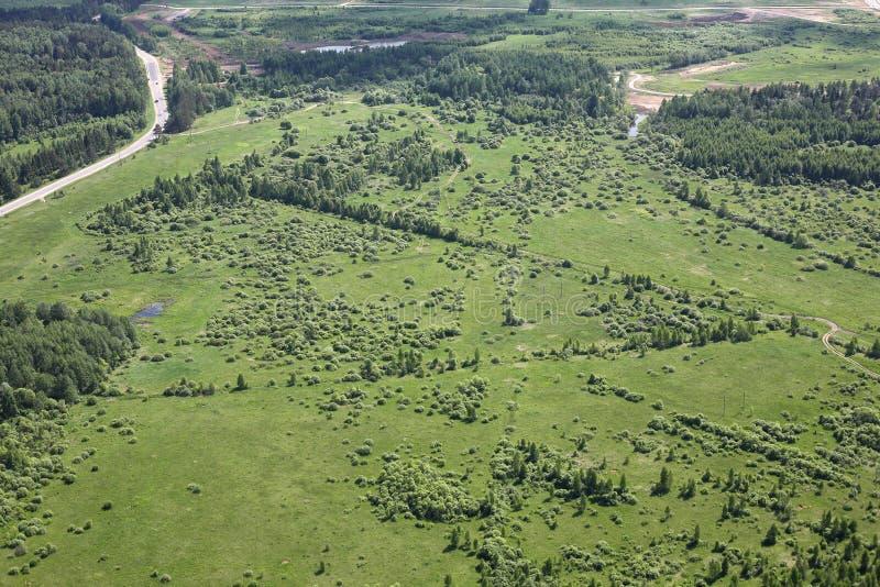 鸟瞰图-俄国草甸、路和领域 库存图片