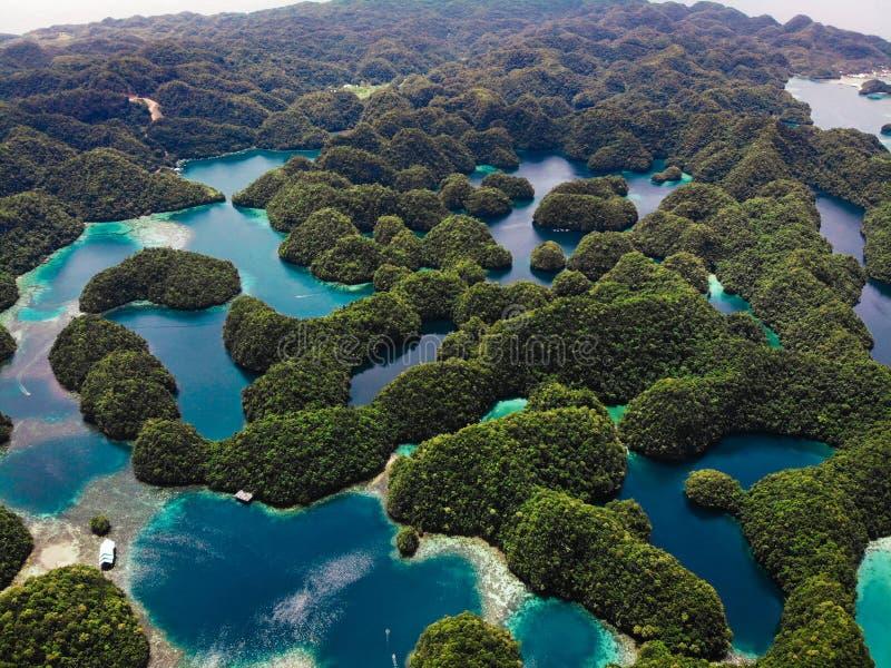 鸟瞰图- Sohoton小海湾,锡亚高岛-菲律宾 图库摄影