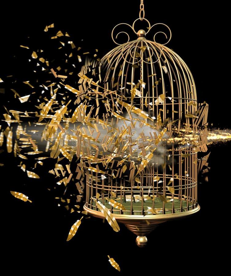 鸟笼展开 库存例证