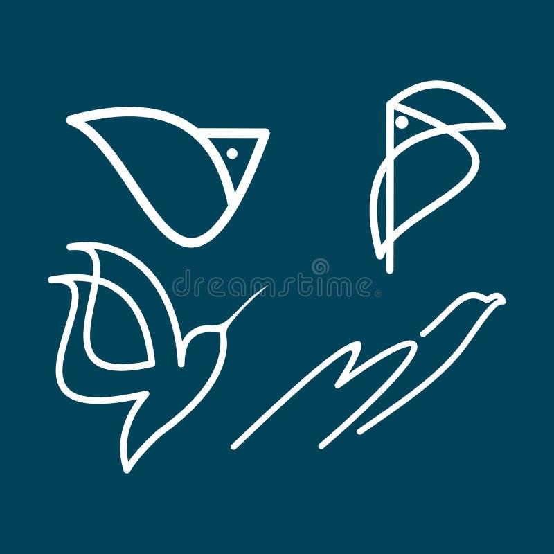 鸟线商标集合 库存例证