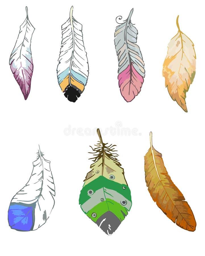 鸟羽毛被传统化不同的形状 皇族释放例证