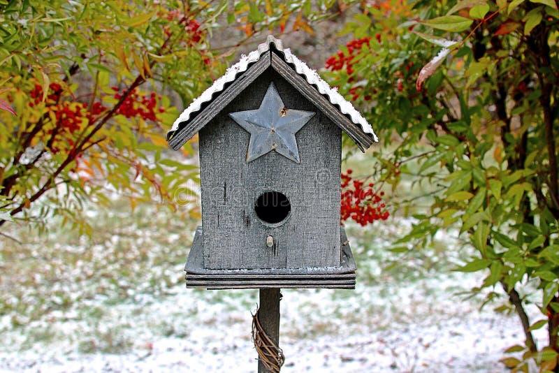 鸟舍在冬天 图库摄影