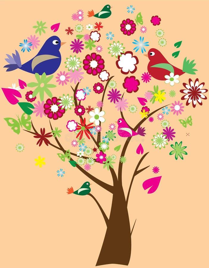 鸟花卉结构树 向量例证