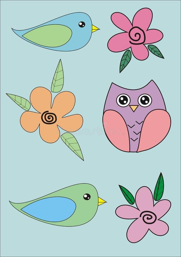 鸟花设置了贴纸向量 免版税图库摄影