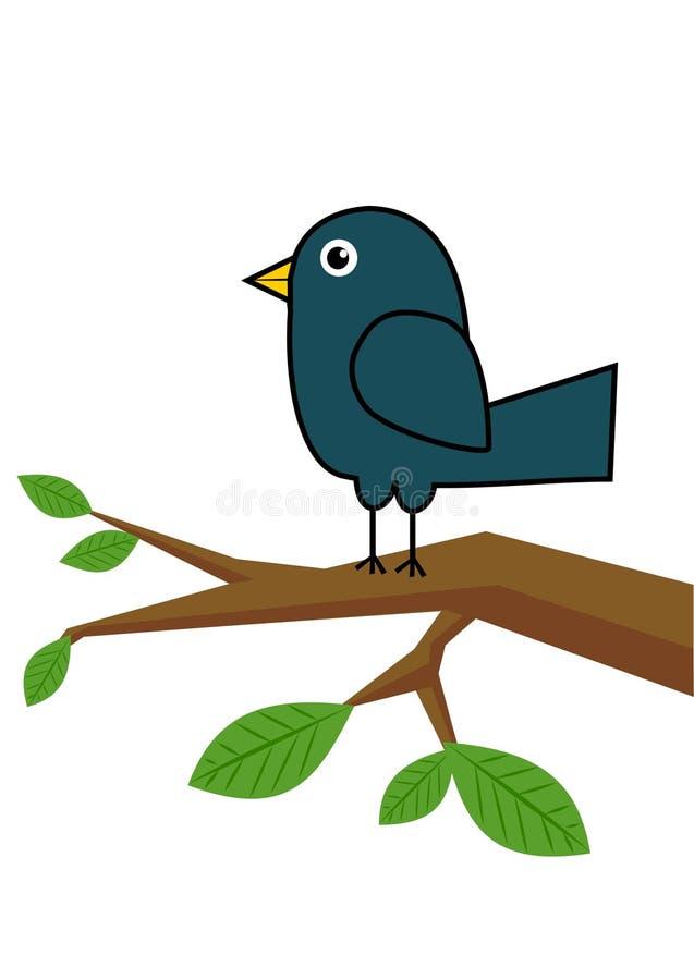 鸟蓝色分行结构树 向量例证