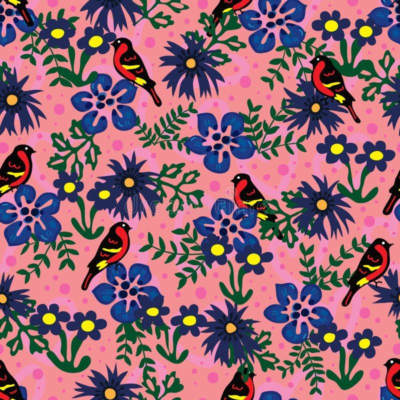 鸟蓝色花绿色叶子无缝的样式 库存例证