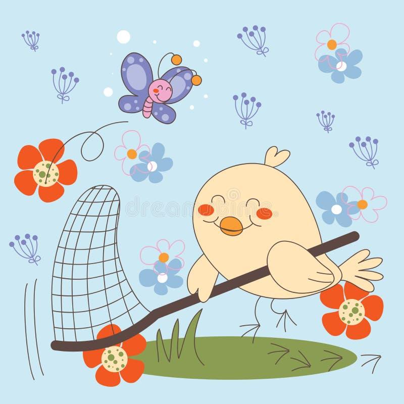 鸟蝴蝶捉住 向量例证