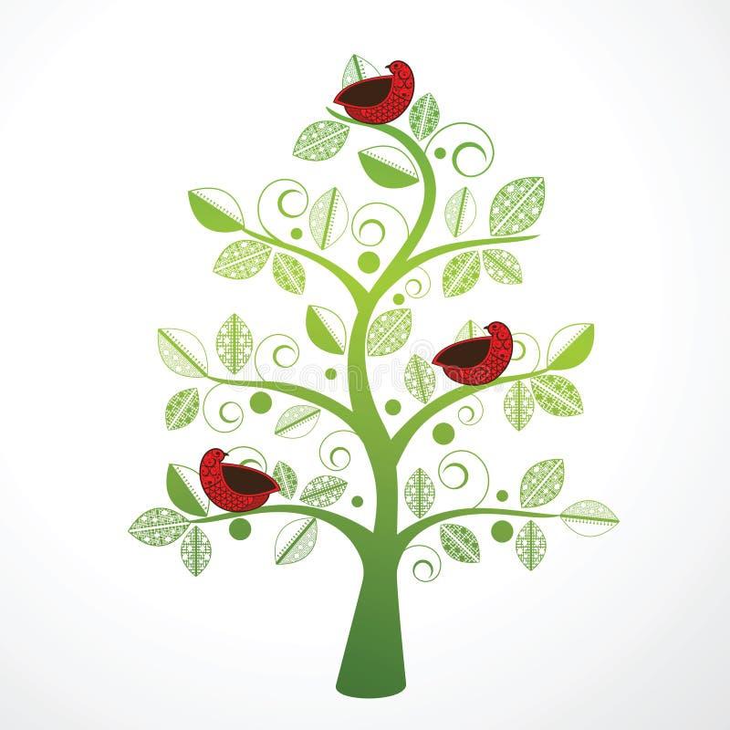 鸟装饰俏丽的结构树 向量例证