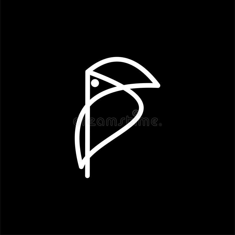 鸟象在黑背景的商标设计 最低纲领派线艺术概念 库存例证