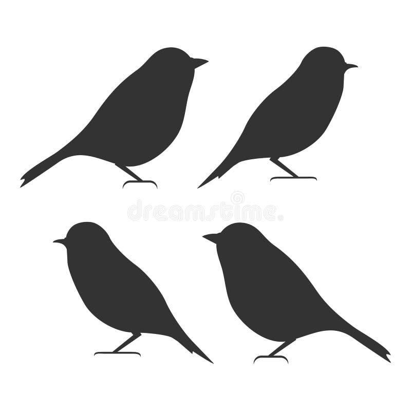 鸟象集合,黑隔绝在白色背景,例证 向量例证