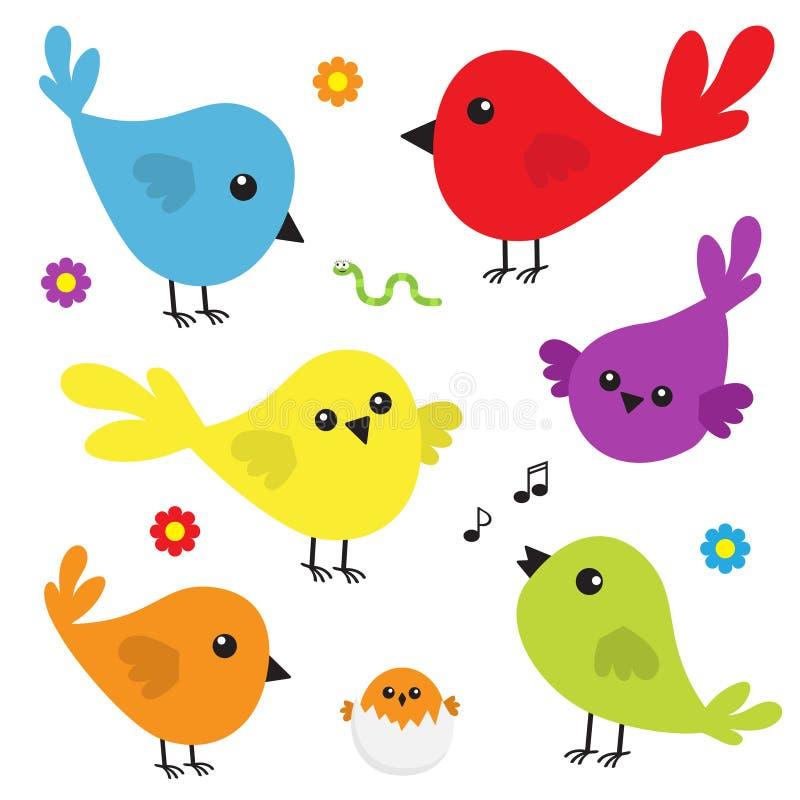 鸟象集合 逗人喜爱的动画片五颜六色的字符 鸟婴孩汇集 装饰元素 唱歌歌曲 花,蠕虫昆虫, musi 向量例证