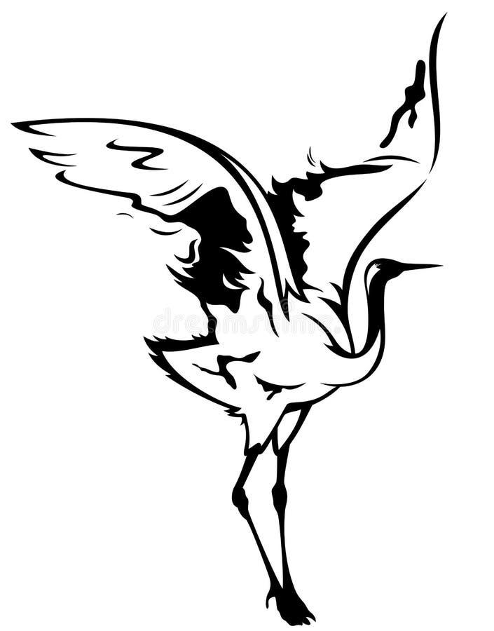 鸟起重机向量 库存例证